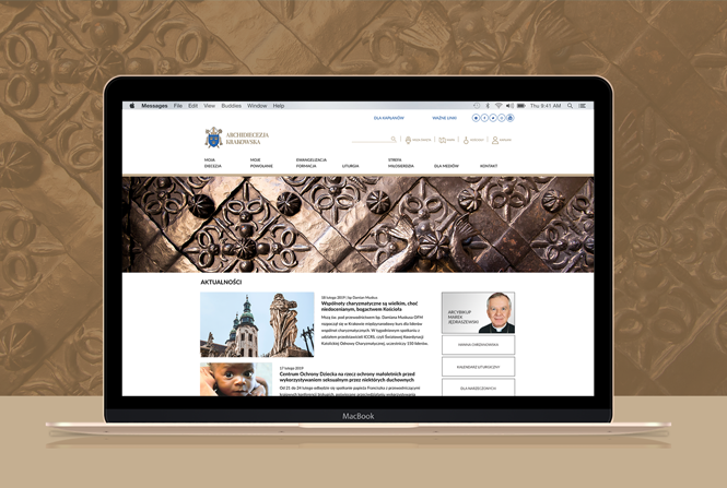 The website of the Archdiocese of Krakow in a new version